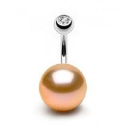 Piercing nombril perle naturel rose 11mm barre titane de qualité