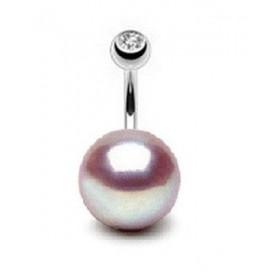 Piercing nombril perle naturelle lavande 11mm barre titane de qualité