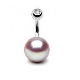 Piercing nombril pour femme motif Perle de culture lavande AA 10mm