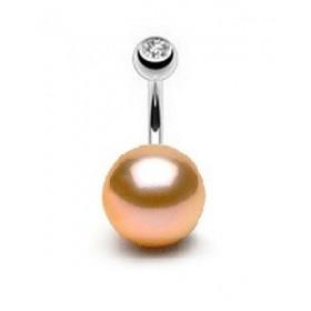 Piercing nombril pour femme motif Perle de culture rose AA 10mm