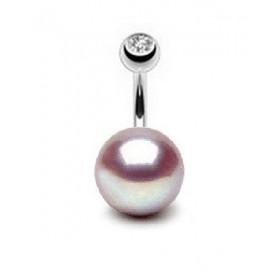 Piercing nombril pour femme perle AAA ronde couleur lavande