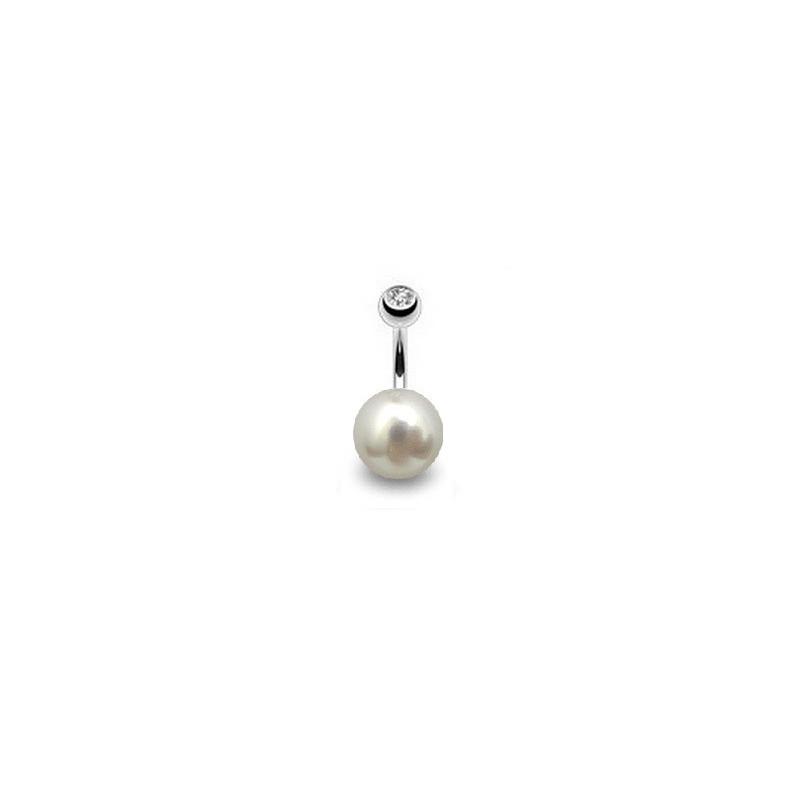 Piercing nombril pour femme perle de culture blanche AAA ronde