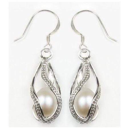 Boucle d'oreille perle blanche cage argent