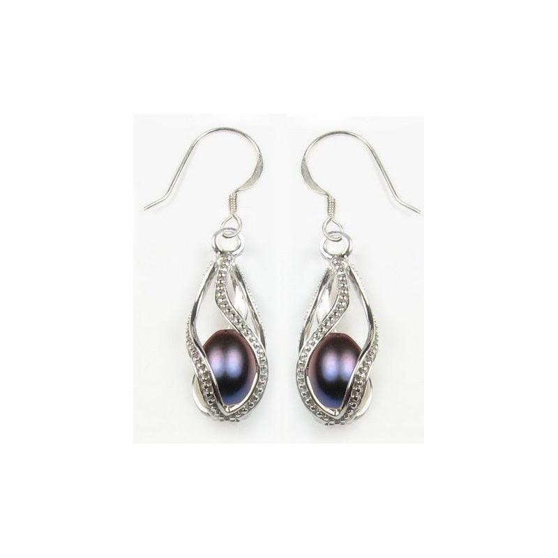 Boucle d'oreille pour femme en argent massif motif perle du pacifique noir,cage argent