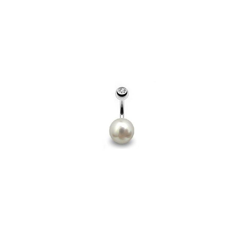 Piercing nombril perle naturelle de cultur blanche AAA entièrement ronde