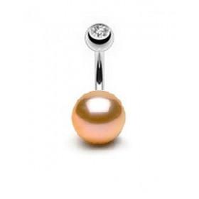 Piercing nombril perle naturelle de culture rose AAA entièrement ronde