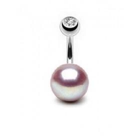 Piercing nombril perle naturelle de culture lavande AAA entièrement ronde