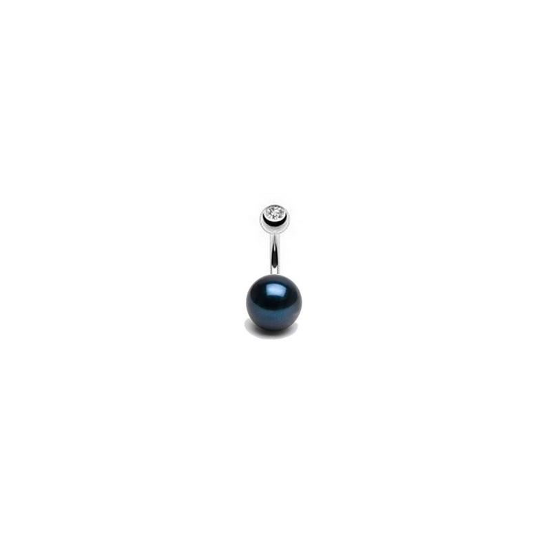 Piercing nombril perle noir ronde AA+ de 8mm bijouterie piercing de luxe