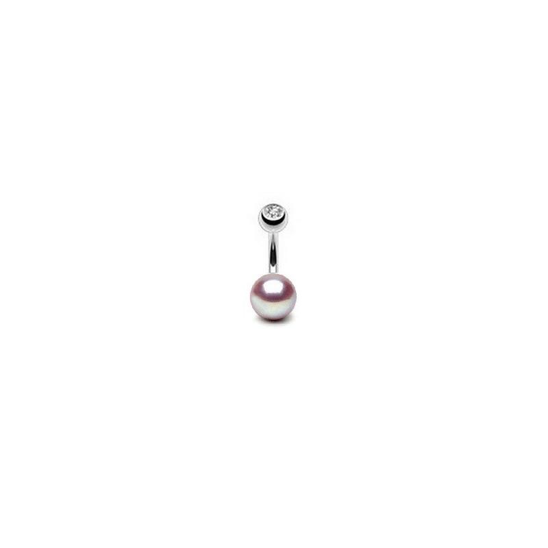 Piercing nombril perle du culture naturelle entièrement ronde couleur lavande 7mm