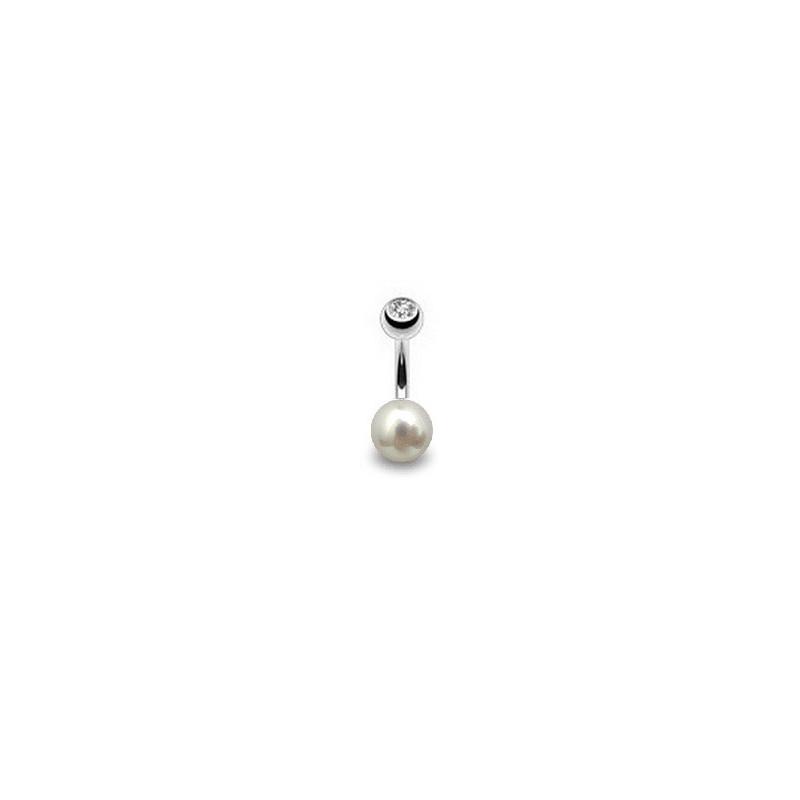 Piercing nombril perle du culture naturelle entièrement ronde couleur blanche 7mm