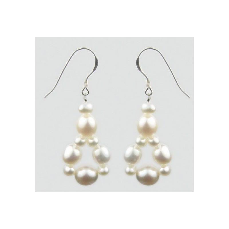 boucles d'oreille argent pendentif multi perle blanche pour femme
