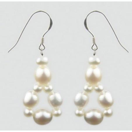 boucles d'oreille argent pendentif multi perle blanche.