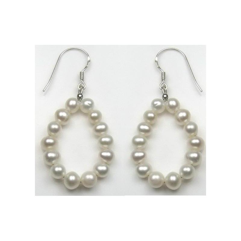 Boucles d'oreille pour femme en argent et perle du culture du pacifique couleur blanche en cercle
