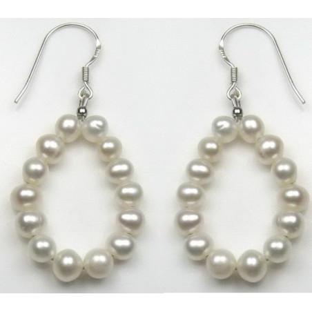 Boucles d'oreille argent et perle blanche en cercle