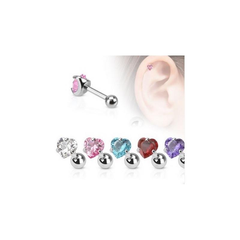 Piercing oreille tragus piercing hélix et cartilage cristal motif coeur