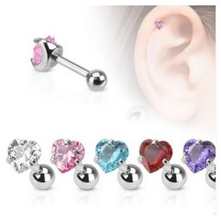 Piercing oreille cristal forme coeur
