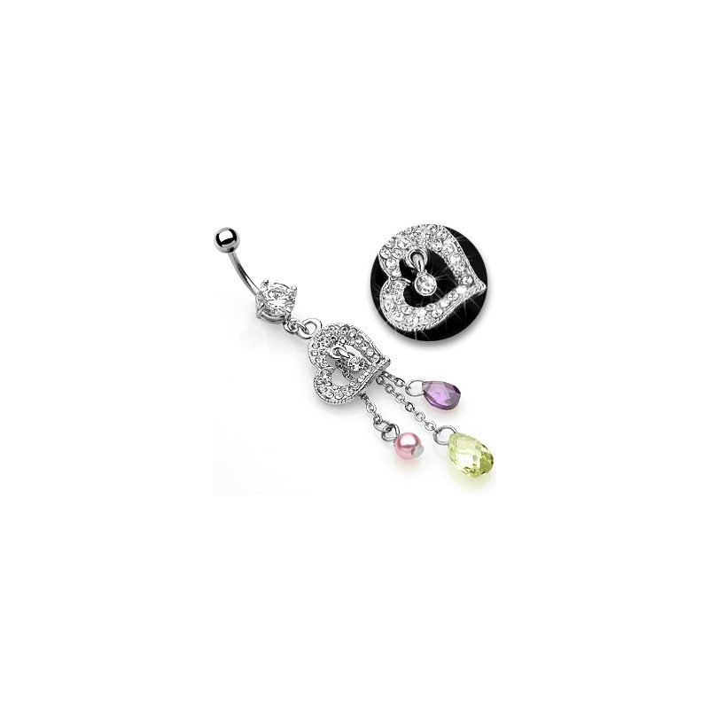 Piercing nombril pendentif coeur chainettes