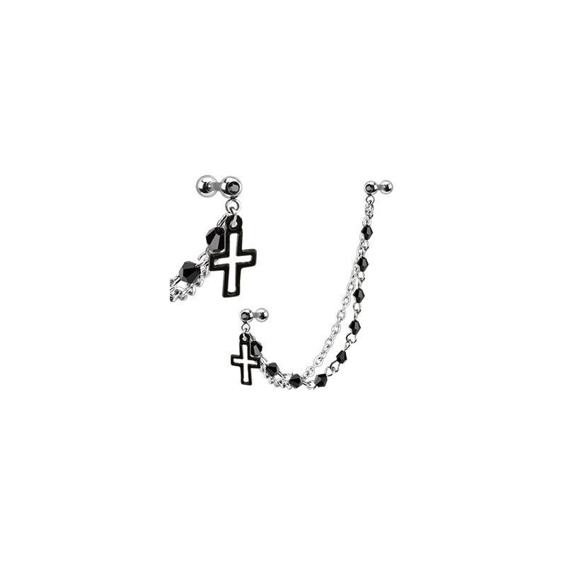 Double Piercing oreille chaine Croix helix cartilage chaine tragus en acier chirurgical