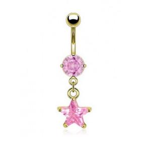 Piercing nombril doré pendentif étoile rose plaqué or