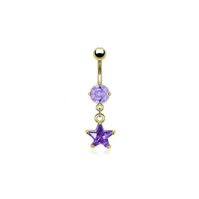 Piercing nombril doré pendentif étoile cristal lavande plaqué or