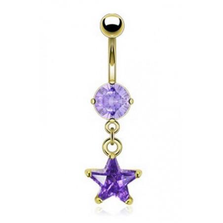 Piercing nombril pendentif étoile lavande plaqué or