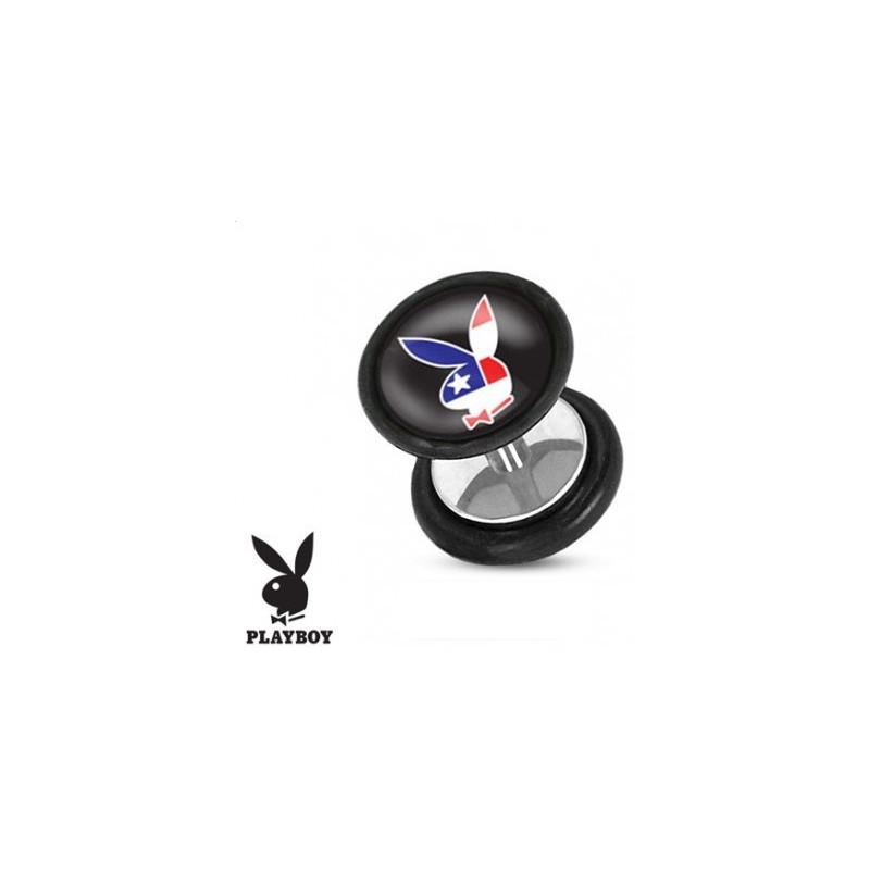 Faux piercing plug ecarteur en acier chirurgical marque playboy logo drapeau USA