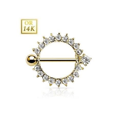 Piercing Teton Rond Or 14 carats