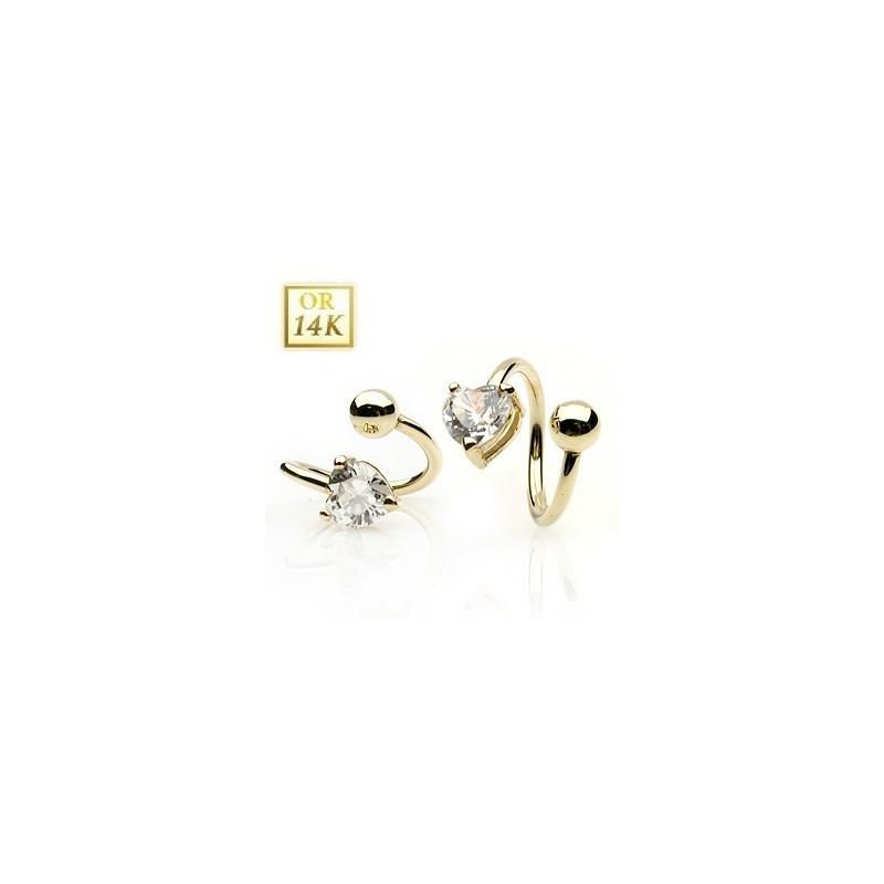 Piercing Spirale en Or massif 14 carats cristal Coeur pour nombril et piercing intime