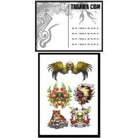 Carte postale Tete de mort tatouage temporaire