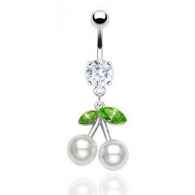 Piercing nombril pendentif perle Cerise IBIZA blanche