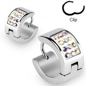Boucle d'oreille forme anneau multi cristaux irisé pour homme