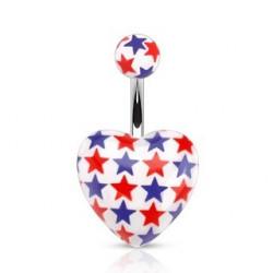 Piercing nombril coeur imprimé étoile