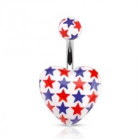 Piercing nombril barre acier chirurgical motif coeur fluo imprimé étoile