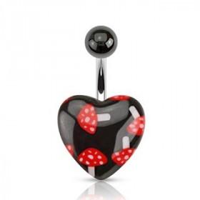 Piercing nombril barre acier chirurgical motif coeur imprimé champignon