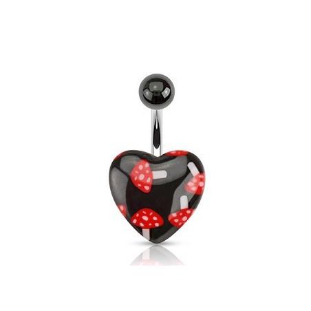 Piercing nombril coeur imprimé champignon