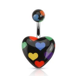 Piercing nombril acrylique coeur noir