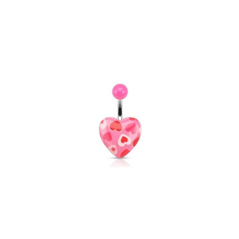Piercing nombril motif coeur rose fluo imprimé