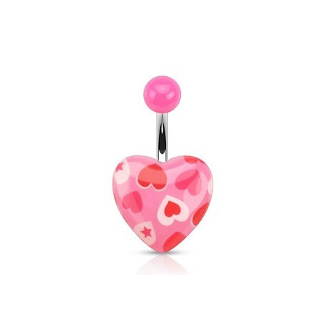 Piercing nombril coeur rose imprimé