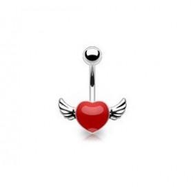 Piercing nombril coeur tattoo rouge avec ailes pour femme