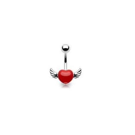 Piercing nombril rouge coeur tattoo avec ailes