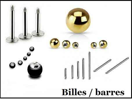 Bille et barre de piercings